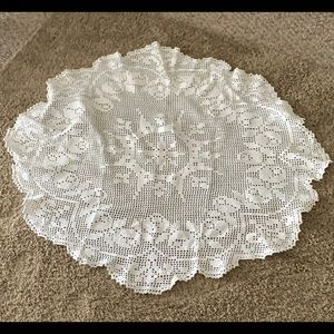 ESTATE ITEM Lace Table Cloth light light stain